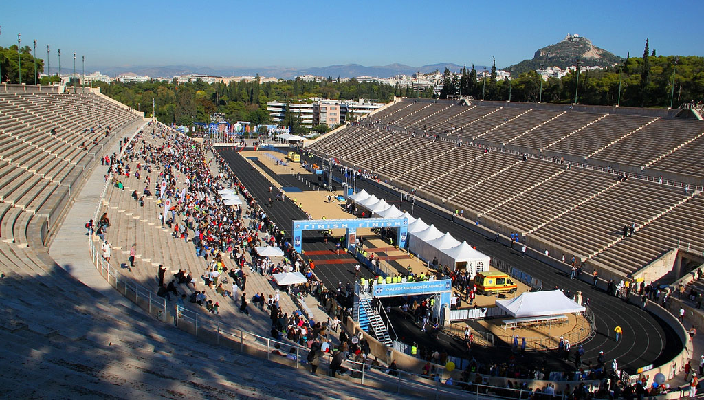 A classic marathon at Panathinaiko Stadio, Athens. Up on the right is the Lycabettus hill.