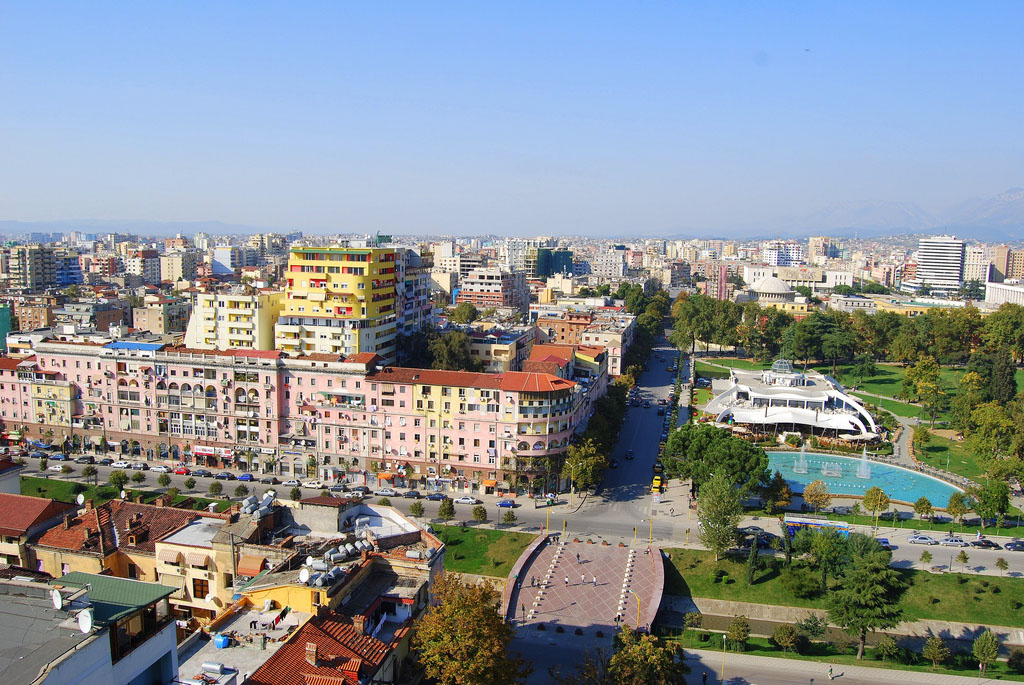 Tirana view from the Sky Tower