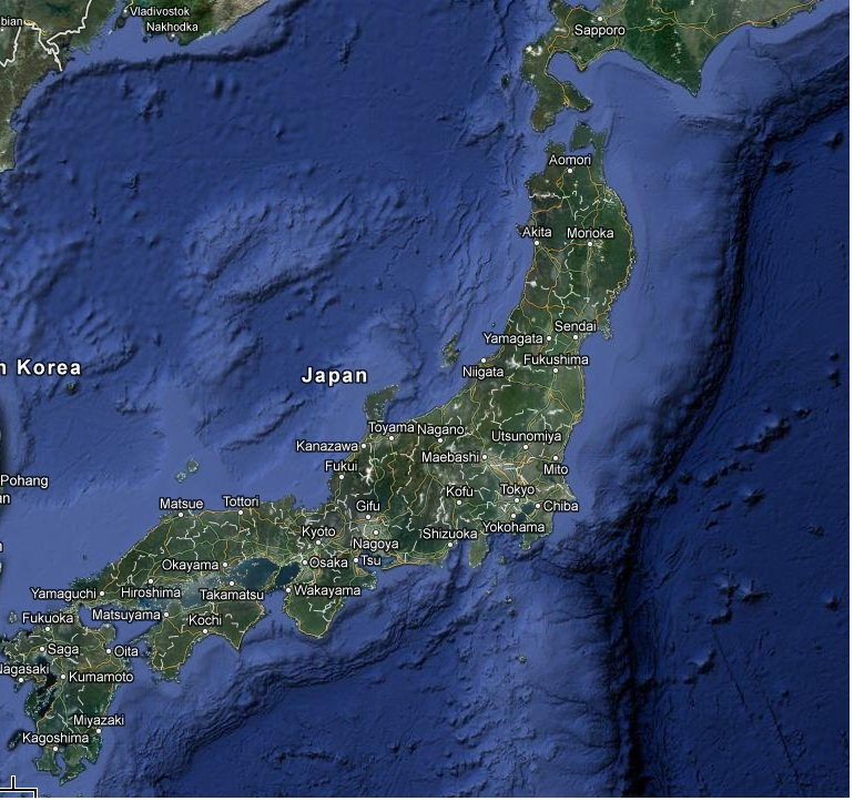 Map of japan from google maps