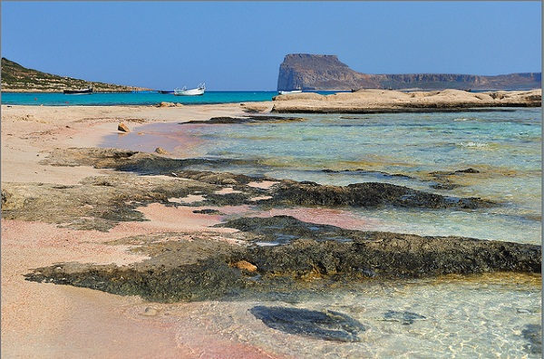 Balos beach with its unique pink sand