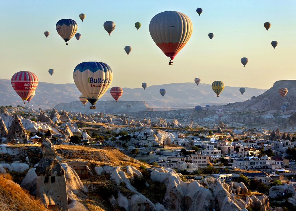 Flying over Cappadocia in a hot air balloon  Turkey ...