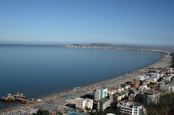 The beach of Kavaje. At the end of the beach you can see the city of Durres.