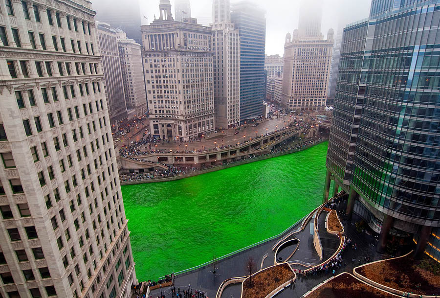 St. Patrick's Day. Dying the Chicago river green
