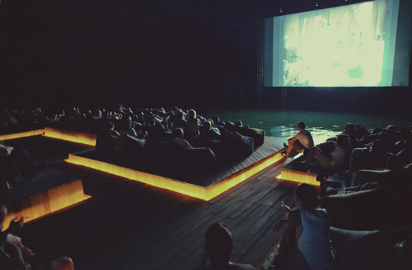 Watching a movie at the floating cinema