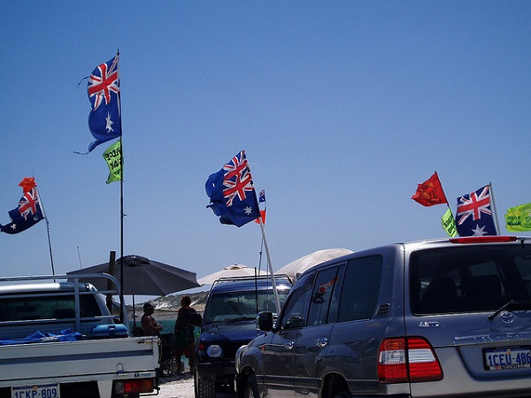 Australia Day Waving Flag