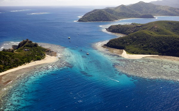 Aerial views, Manta Ray Island resort, Yasawa islands. Fiji Islands.