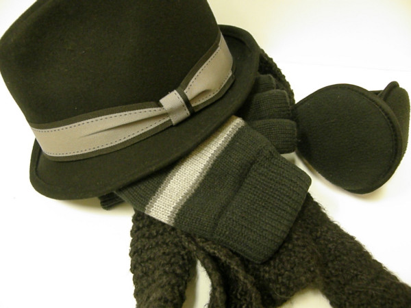 hat, gloves, scarf, and earmuffs